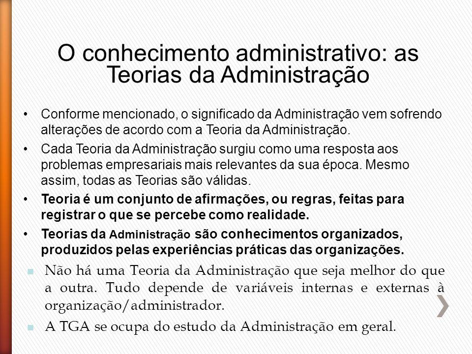 O conhecimento administrativo: as Teorias da Administração Conforme mencionado, o significado da Administração vem sofrendo alterações de acordo com a