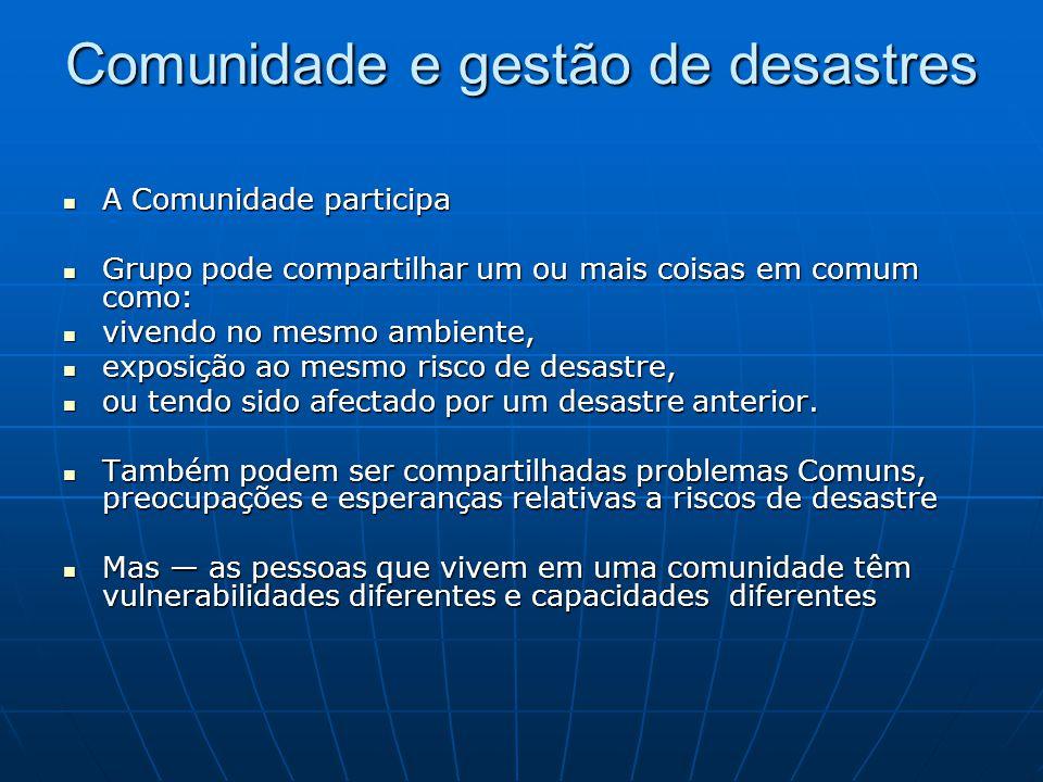 Comunidade e gestão de desastres A Comunidade participa A Comunidade participa Grupo pode compartilhar um ou mais coisas em comum como: Grupo pode com