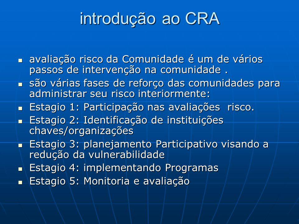 introdução ao CRA avaliação risco da Comunidade é um de vários passos de intervenção na comunidade. avaliação risco da Comunidade é um de vários passo
