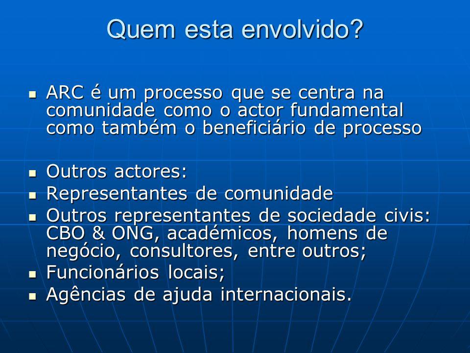 Quem esta envolvido? ARC é um processo que se centra na comunidade como o actor fundamental como também o beneficiário de processo ARC é um processo q
