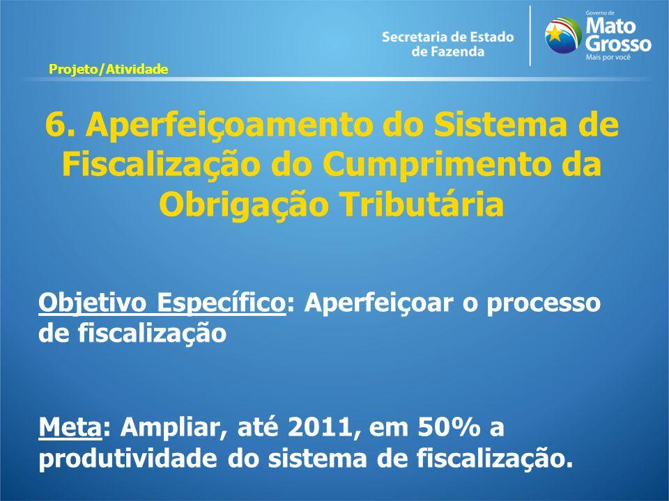 6. Aperfeiçoamento do Sistema de Fiscalização do Cumprimento da Obrigação Tributária Objetivo Específico: Aperfeiçoar o processo de fiscalização Meta: