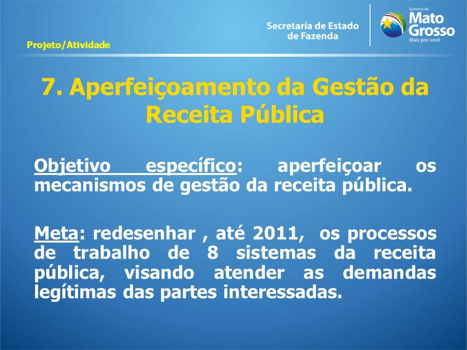 7. Aperfeiçoamento da Gestão da Receita Pública Objetivo específico: aperfeiçoar os mecanismos de gestão da receita pública. Meta: redesenhar, até 201