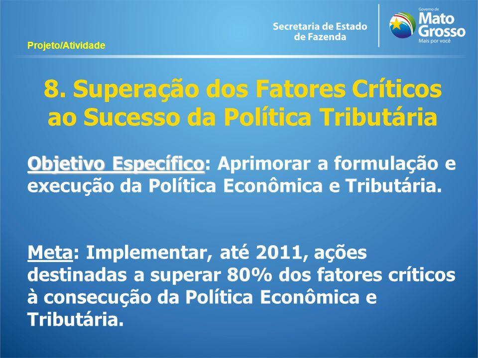 8. Superação dos Fatores Críticos ao Sucesso da Política Tributária Objetivo Específico Objetivo Específico: Aprimorar a formulação e execução da Polí