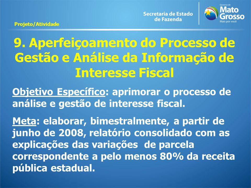 9. Aperfeiçoamento do Processo de Gestão e Análise da Informação de Interesse Fiscal Objetivo Específico: aprimorar o processo de análise e gestão de