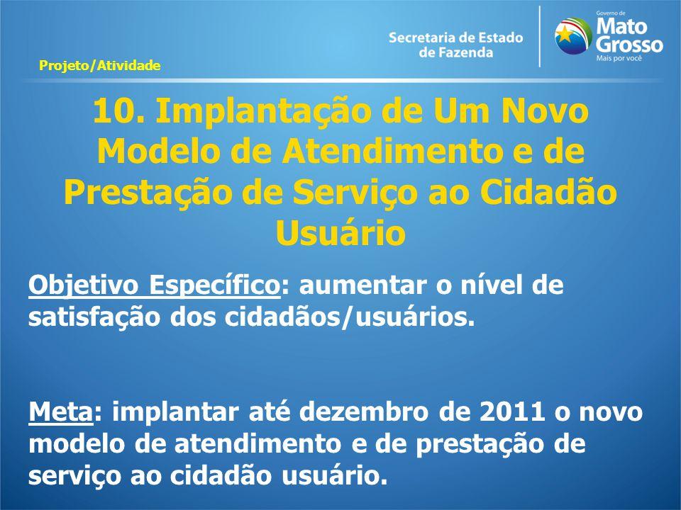 10. Implantação de Um Novo Modelo de Atendimento e de Prestação de Serviço ao Cidadão Usuário Objetivo Específico: aumentar o nível de satisfação dos