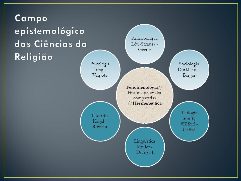 Fenomenologia// História-geografia comparadas //Hermenêutica Antropologia Lévi-Strauss - Geertz Sociologia Durkheim - Berger Teologia Smith, Wilfred -
