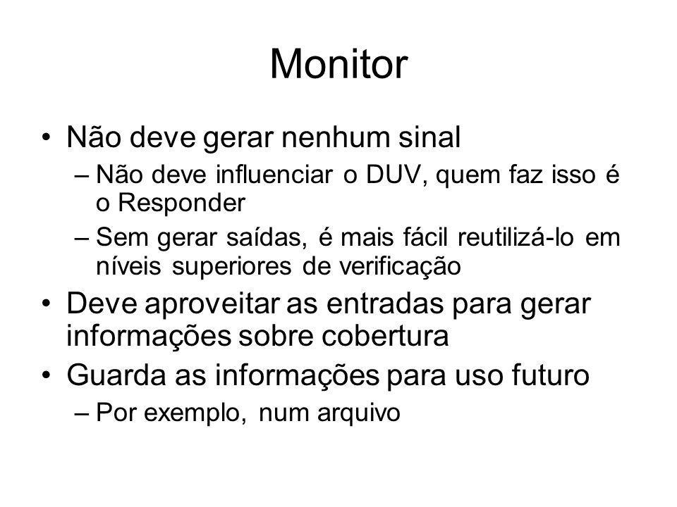 Monitor Não deve gerar nenhum sinal –Não deve influenciar o DUV, quem faz isso é o Responder –Sem gerar saídas, é mais fácil reutilizá-lo em níveis su