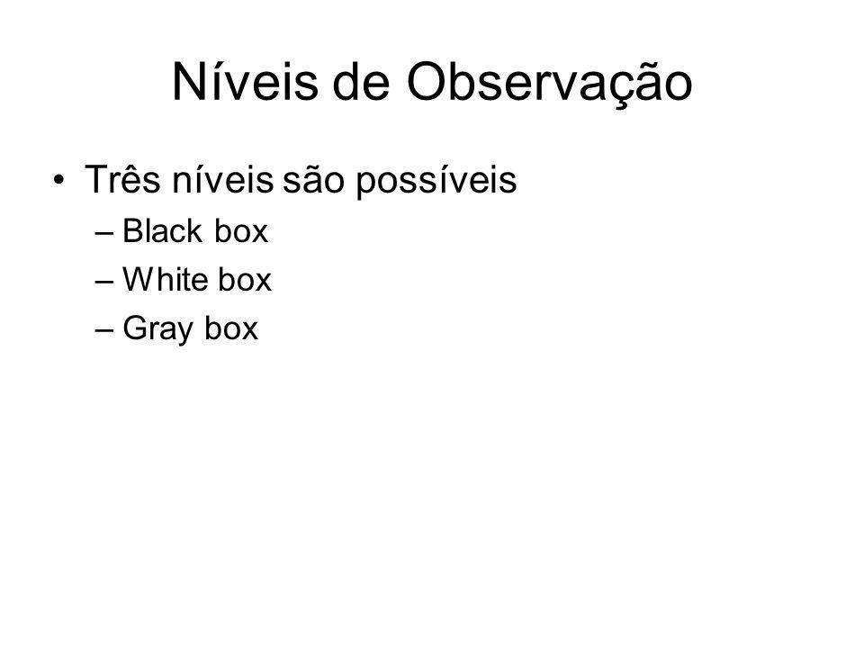 Níveis de Observação Três níveis são possíveis –Black box –White box –Gray box