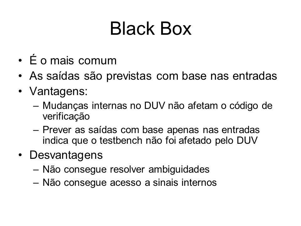 Black Box É o mais comum As saídas são previstas com base nas entradas Vantagens: –Mudanças internas no DUV não afetam o código de verificação –Prever as saídas com base apenas nas entradas indica que o testbench não foi afetado pelo DUV Desvantagens –Não consegue resolver ambiguidades –Não consegue acesso a sinais internos