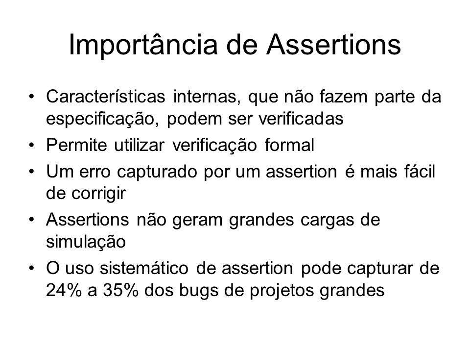 Importância de Assertions Características internas, que não fazem parte da especificação, podem ser verificadas Permite utilizar verificação formal Um