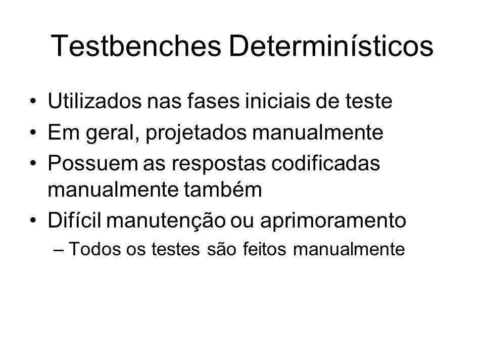 Testbenches Determinísticos Utilizados nas fases iniciais de teste Em geral, projetados manualmente Possuem as respostas codificadas manualmente também Difícil manutenção ou aprimoramento –Todos os testes são feitos manualmente