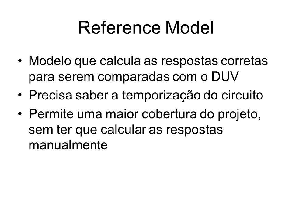 Reference Model Modelo que calcula as respostas corretas para serem comparadas com o DUV Precisa saber a temporização do circuito Permite uma maior cobertura do projeto, sem ter que calcular as respostas manualmente