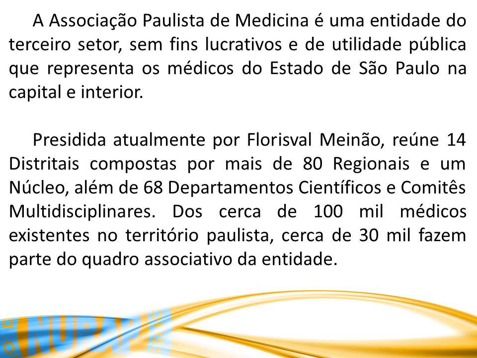 A Associação Paulista de Medicina é uma entidade do terceiro setor, sem fins lucrativos e de utilidade pública que representa os médicos do Estado de São Paulo na capital e interior.