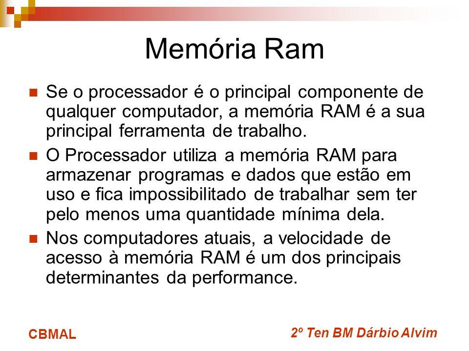 2º Ten BM Dárbio Alvim CBMAL Memória Ram Se o processador é o principal componente de qualquer computador, a memória RAM é a sua principal ferramenta de trabalho.