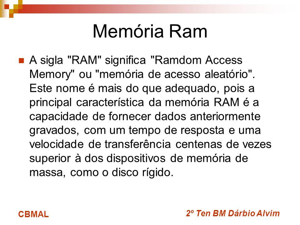 2º Ten BM Dárbio Alvim CBMAL Memória Ram A sigla RAM significa Ramdom Access Memory ou memória de acesso aleatório .
