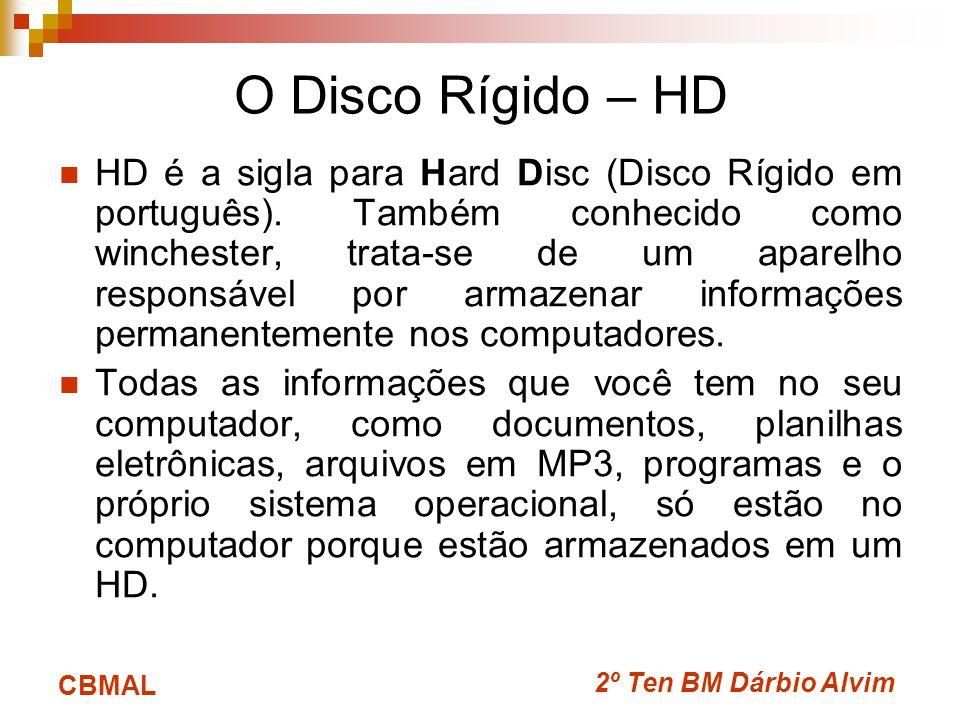 2º Ten BM Dárbio Alvim CBMAL O Disco Rígido – HD HD é a sigla para Hard Disc (Disco Rígido em português). Também conhecido como winchester, trata-se d