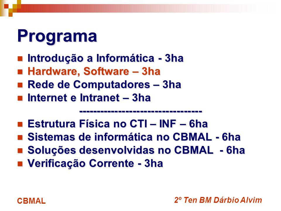 2º Ten BM Dárbio Alvim CBMAL Programa Introdução a Informática - 3ha Introdução a Informática - 3ha Hardware, Software – 3ha Hardware, Software – 3ha Rede de Computadores – 3ha Rede de Computadores – 3ha Internet e Intranet – 3ha Internet e Intranet – 3ha---------------------------------- Estrutura Física no CTI – INF – 6ha Estrutura Física no CTI – INF – 6ha Sistemas de informática no CBMAL - 6ha Sistemas de informática no CBMAL - 6ha Soluções desenvolvidas no CBMAL - 6ha Soluções desenvolvidas no CBMAL - 6ha Verificação Corrente - 3ha Verificação Corrente - 3ha
