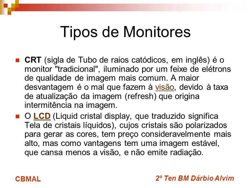 2º Ten BM Dárbio Alvim CBMAL Tipos de Monitores CRT (sigla de Tubo de raios catódicos, em inglês) é o monitor tradicional , iluminado por um feixe de elétrons de qualidade de imagem mais comum.