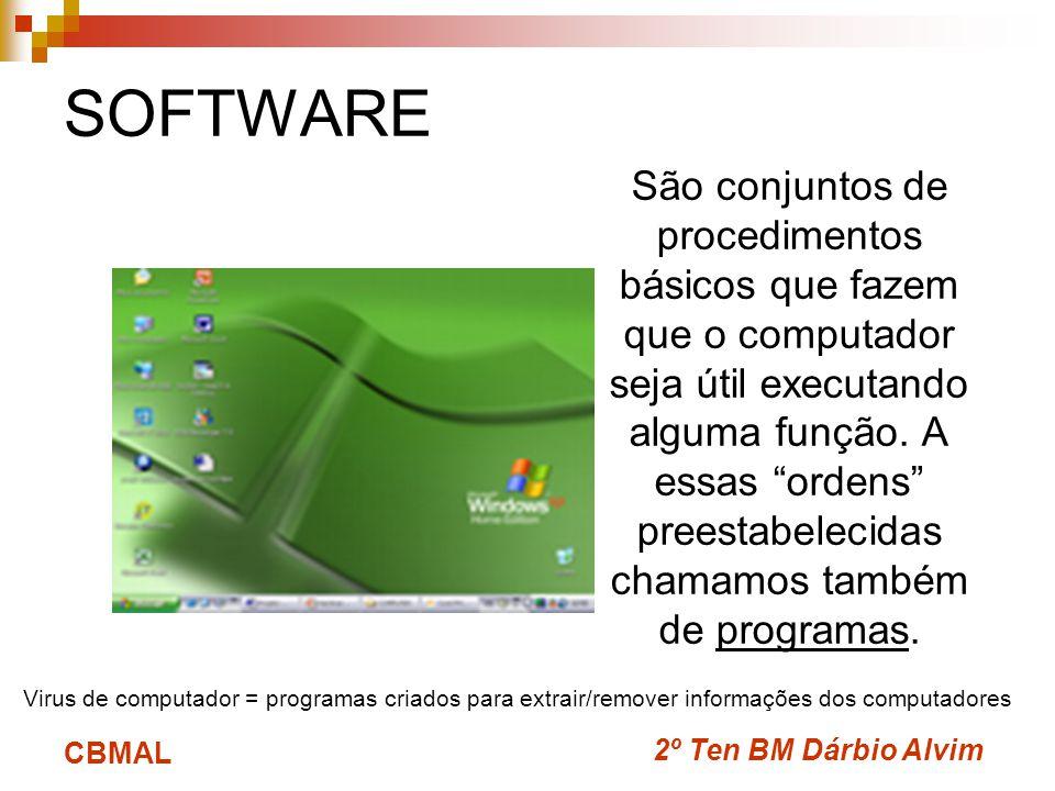 2º Ten BM Dárbio Alvim CBMAL SOFTWARE São conjuntos de procedimentos básicos que fazem que o computador seja útil executando alguma função.