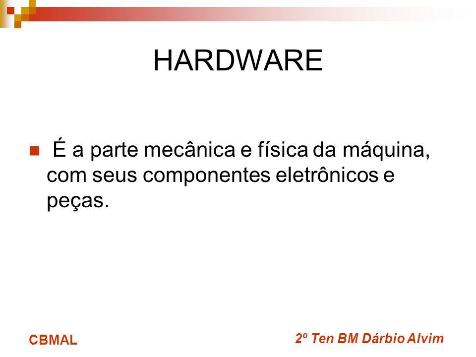 2º Ten BM Dárbio Alvim CBMAL HARDWARE É a parte mecânica e física da máquina, com seus componentes eletrônicos e peças.