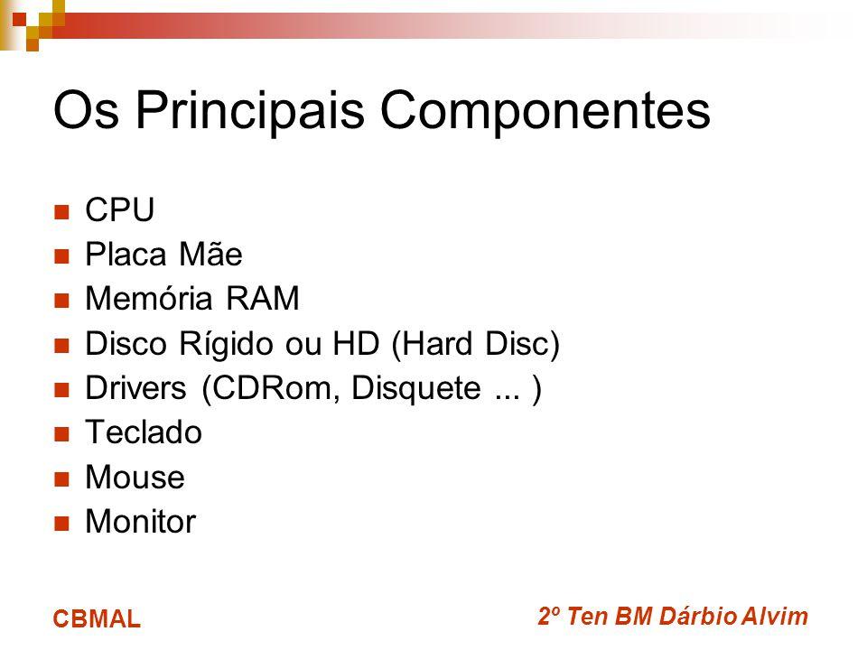 2º Ten BM Dárbio Alvim CBMAL Os Principais Componentes CPU Placa Mãe Memória RAM Disco Rígido ou HD (Hard Disc) Drivers (CDRom, Disquete... ) Teclado