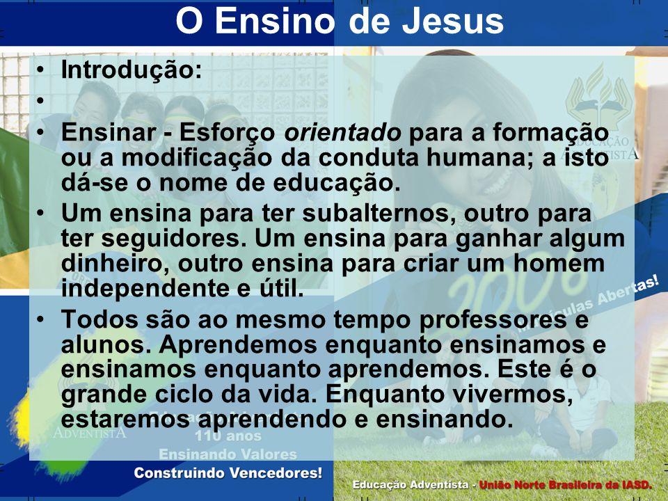 O Ensino de Jesus Introdução: Ensinar - Esforço orientado para a formação ou a modificação da conduta humana; a isto dá-se o nome de educação. Um ensi