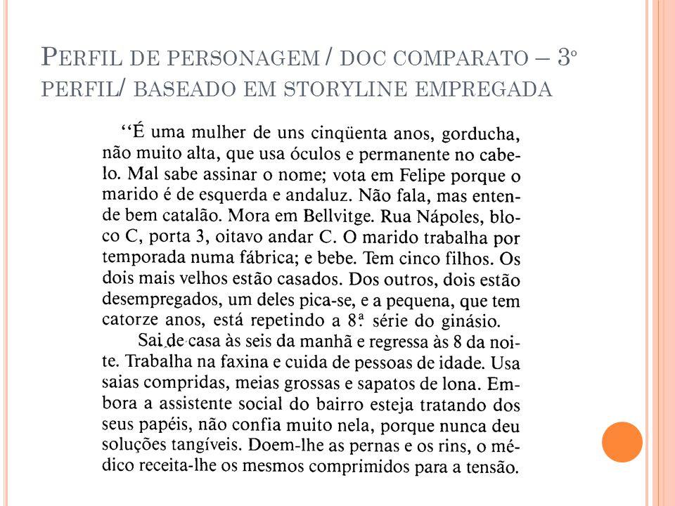P ERFIL DE PERSONAGEM / DOC COMPARATO – 3 º PERFIL / BASEADO EM STORYLINE EMPREGADA
