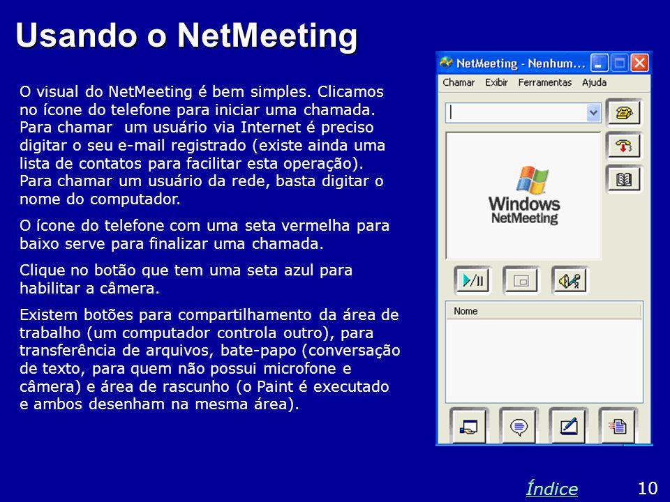 Usando o NetMeeting O visual do NetMeeting é bem simples.