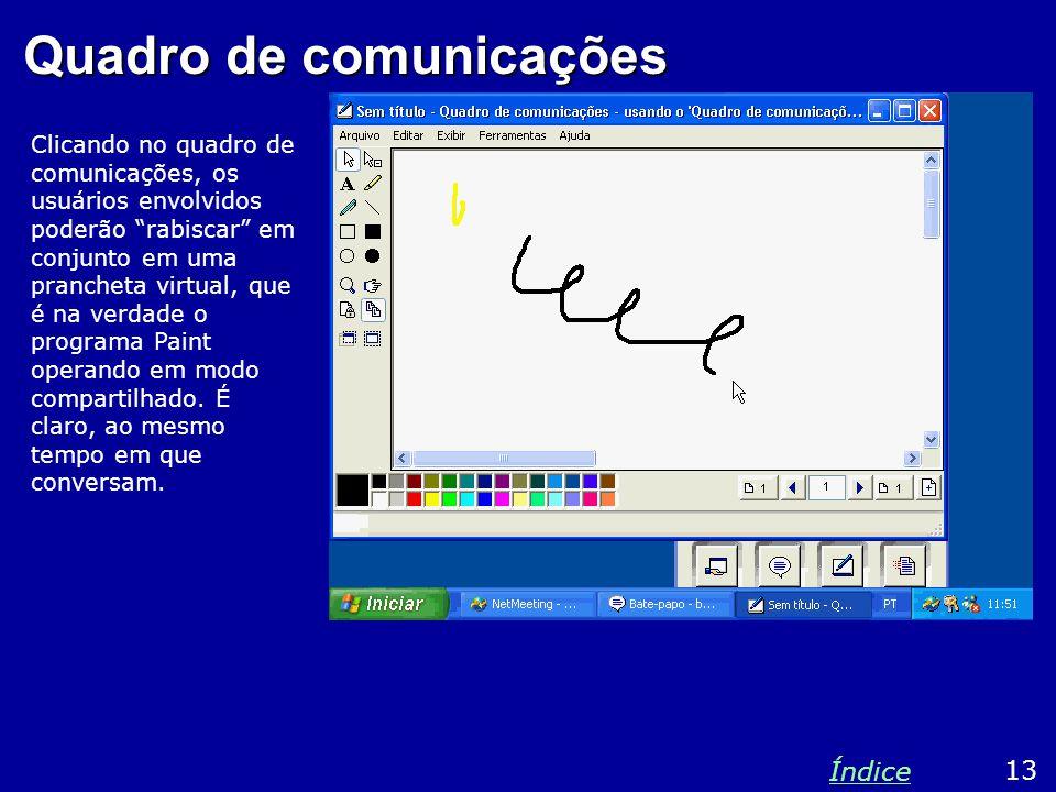 Quadro de comunicações Clicando no quadro de comunicações, os usuários envolvidos poderão rabiscar em conjunto em uma prancheta virtual, que é na verdade o programa Paint operando em modo compartilhado.
