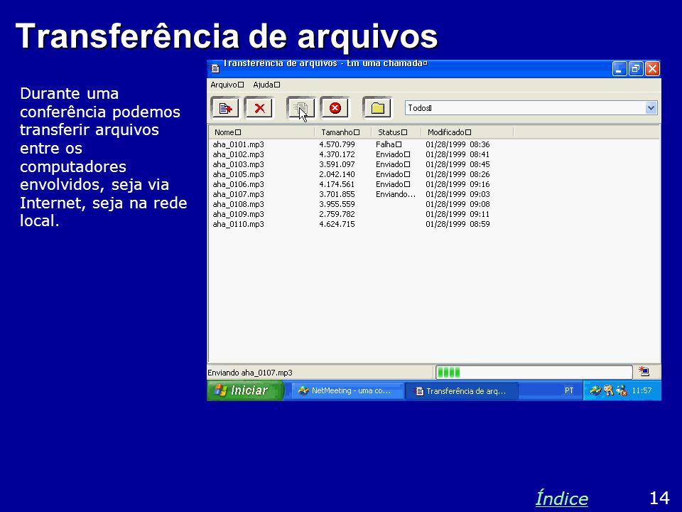 Transferência de arquivos Durante uma conferência podemos transferir arquivos entre os computadores envolvidos, seja via Internet, seja na rede local.