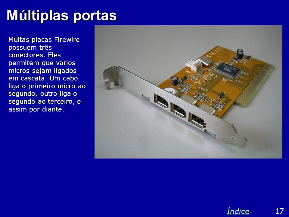 Múltiplas portas Muitas placas Firewire possuem três conectores.