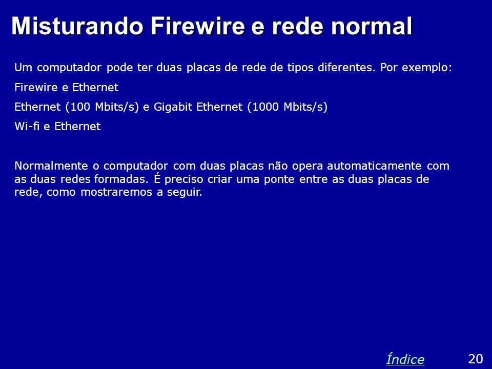 Misturando Firewire e rede normal Um computador pode ter duas placas de rede de tipos diferentes.