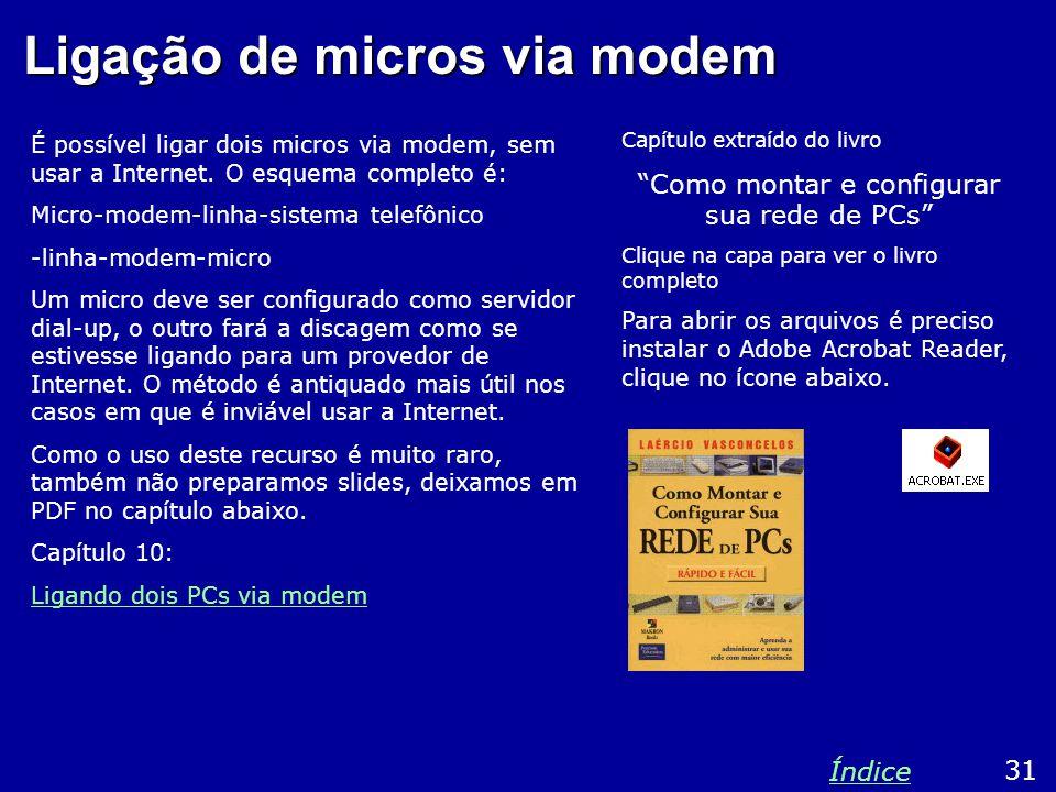 Ligação de micros via modem É possível ligar dois micros via modem, sem usar a Internet.