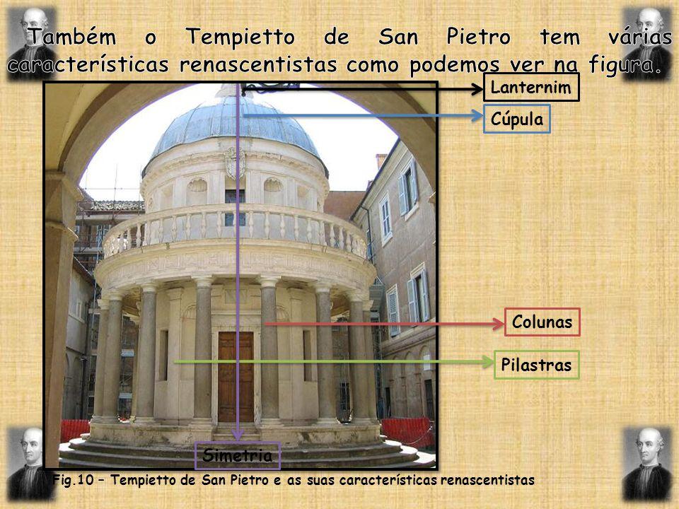 Lanternim Cúpula Colunas Pilastras Simetria Fig.10 – Tempietto de San Pietro e as suas características renascentistas