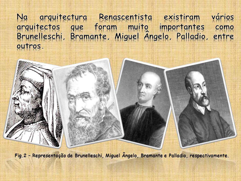 Fig.2 – Representação de Brunelleschi, Miguel Ângelo, Bramante e Palladio, respectivamente.