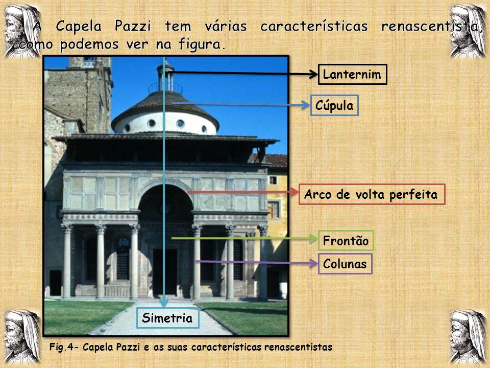 Lanternim Cúpula Arco de volta perfeita Colunas Simetria Fig.4- Capela Pazzi e as suas características renascentistas Frontão