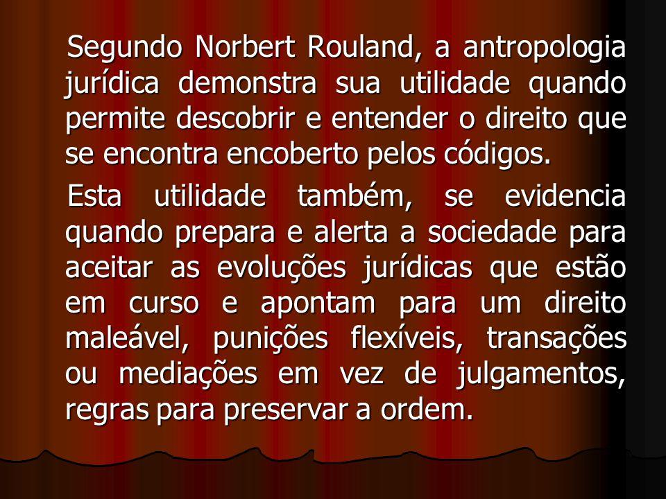 Segundo Norbert Rouland, a antropologia jurídica demonstra sua utilidade quando permite descobrir e entender o direito que se encontra encoberto pelos