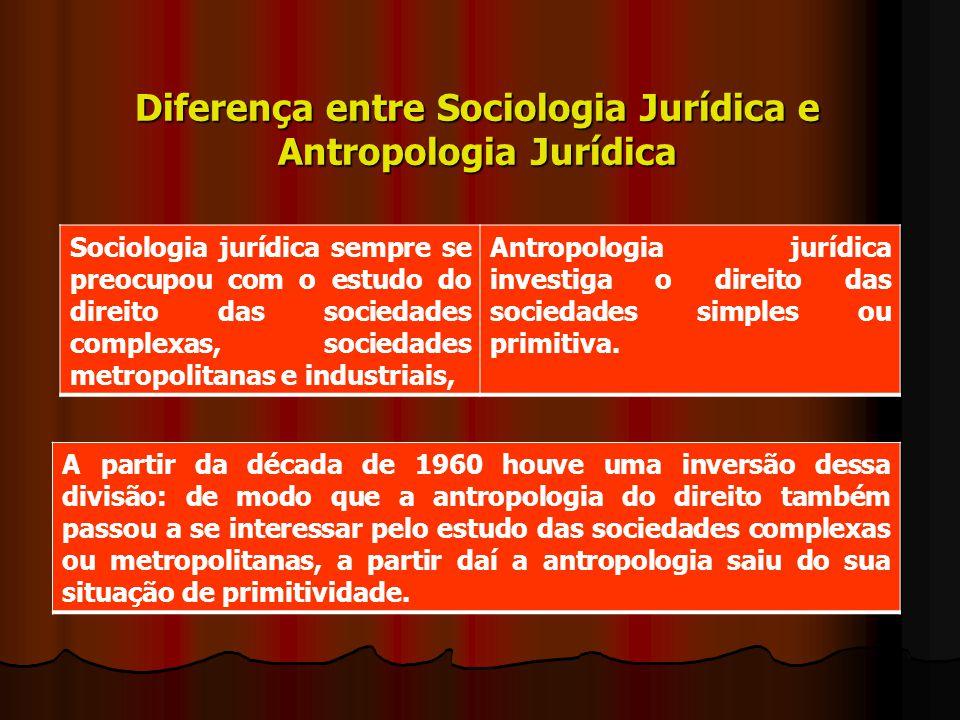 Diferença entre Sociologia Jurídica e Antropologia Jurídica Sociologia jurídica sempre se preocupou com o estudo do direito das sociedades complexas,
