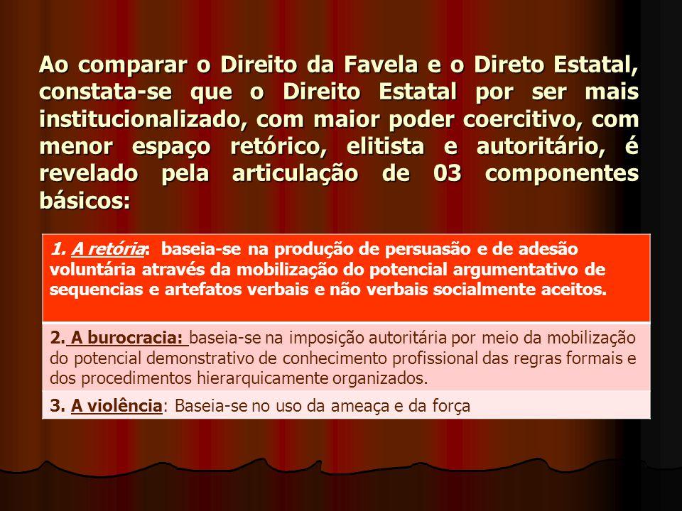 Ao comparar o Direito da Favela e o Direto Estatal, constata-se que o Direito Estatal por ser mais institucionalizado, com maior poder coercitivo, com