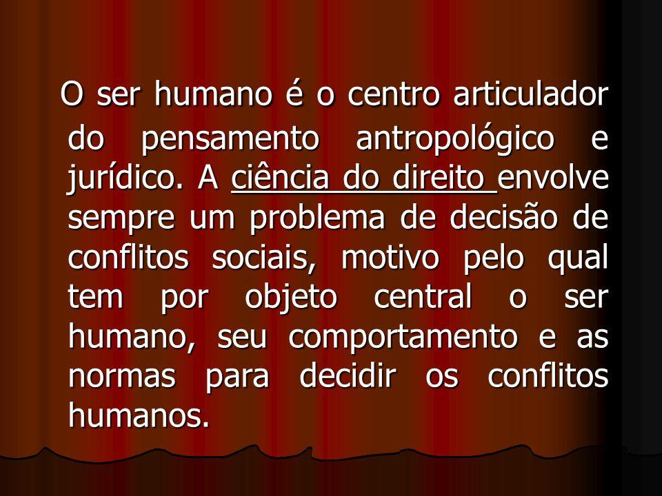 O ser humano é o centro articulador do pensamento antropológico e jurídico. A ciência do direito envolve sempre um problema de decisão de conflitos so