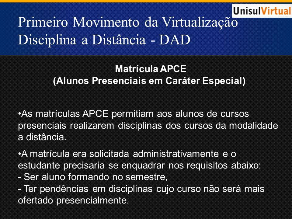 Primeiro Movimento da Virtualização Disciplina a Distância - DAD Matrícula APCE (Alunos Presenciais em Caráter Especial) As matrículas APCE permitiam aos alunos de cursos presenciais realizarem disciplinas dos cursos da modalidade a distância.
