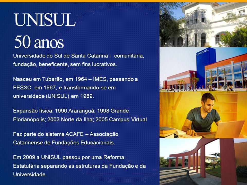 UNISUL 50 anos Universidade do Sul de Santa Catarina - comunitária, fundação, beneficente, sem fins lucrativos.