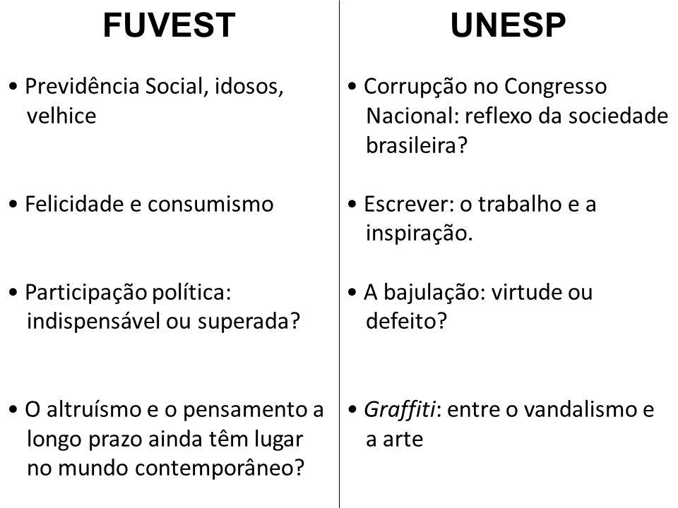 FUVEST Previdência Social, idosos, velhice Felicidade e consumismo Participação política: indispensável ou superada.
