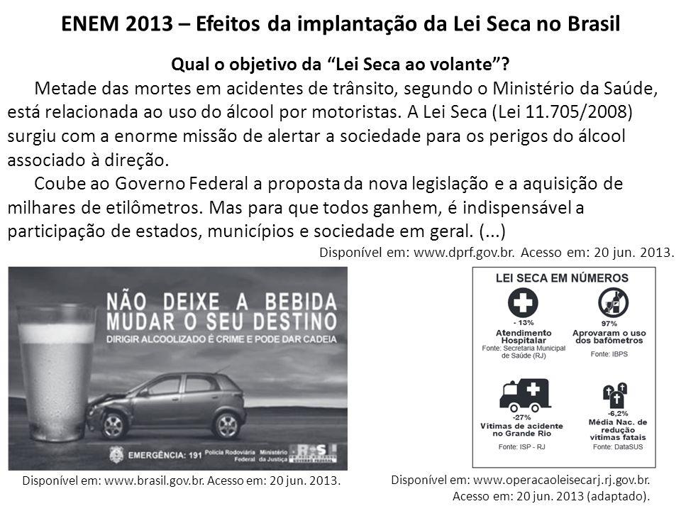 """ENEM 2013 – Efeitos da implantação da Lei Seca no Brasil Qual o objetivo da """"Lei Seca ao volante""""? Metade das mortes em acidentes de trânsito, segundo"""