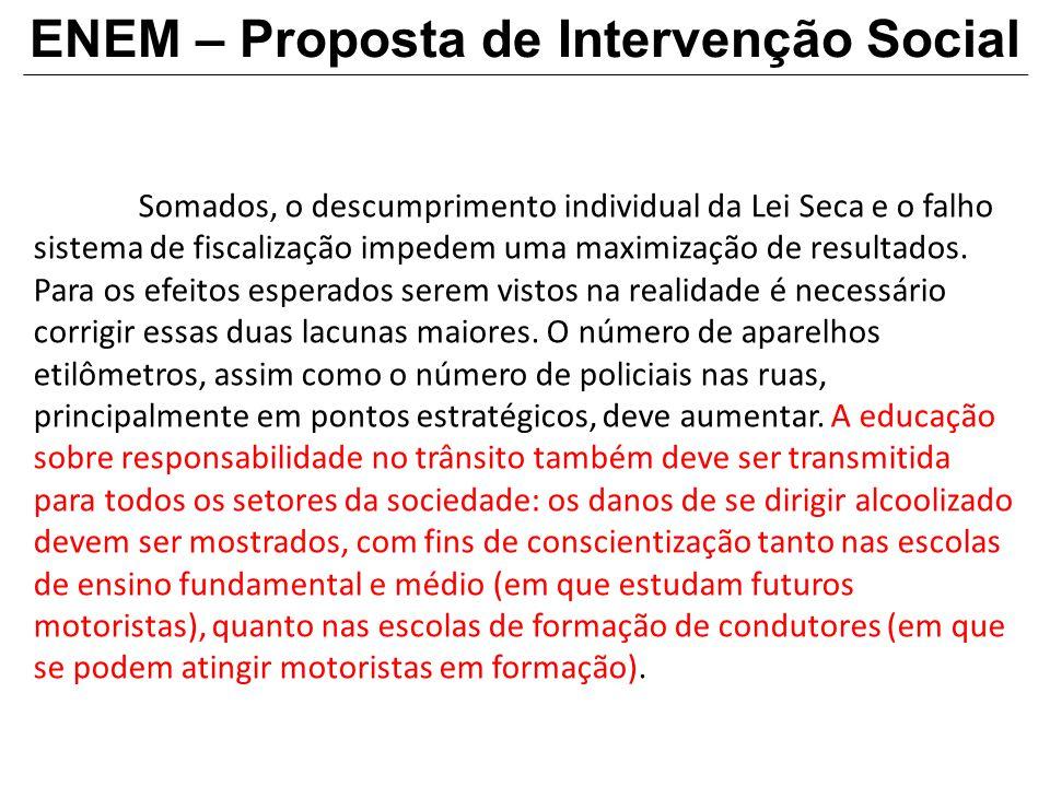 ENEM – Proposta de Intervenção Social Somados, o descumprimento individual da Lei Seca e o falho sistema de fiscalização impedem uma maximização de re