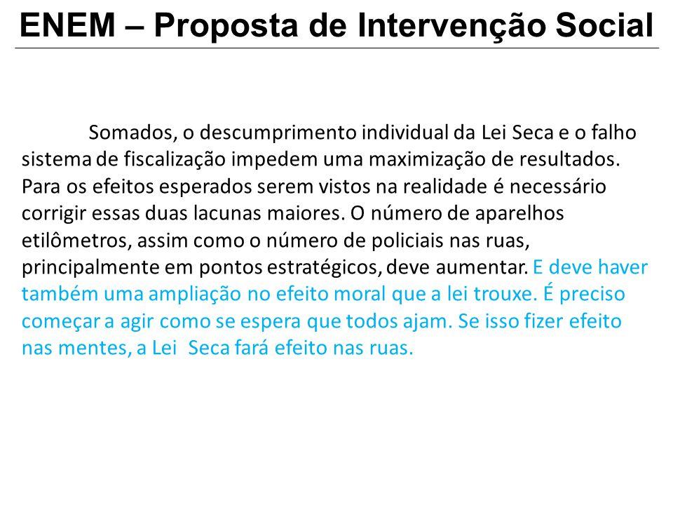 ENEM – Proposta de Intervenção Social Somados, o descumprimento individual da Lei Seca e o falho sistema de fiscalização impedem uma maximização de resultados.