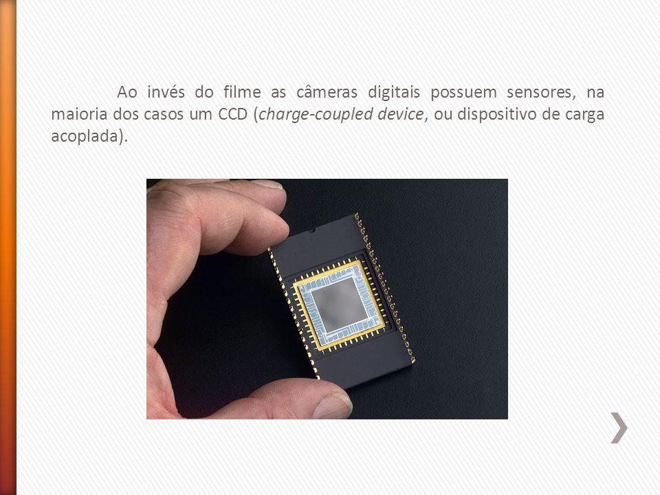 Ao invés do filme as câmeras digitais possuem sensores, na maioria dos casos um CCD (charge-coupled device, ou dispositivo de carga acoplada).