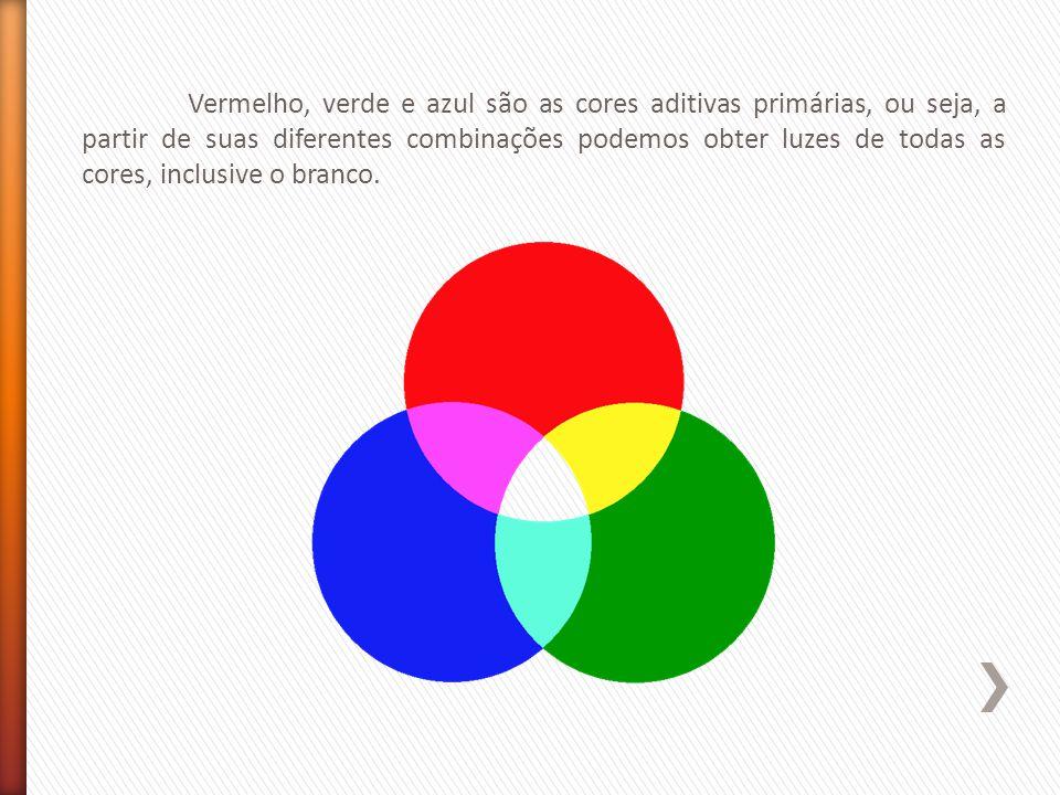 Vermelho, verde e azul são as cores aditivas primárias, ou seja, a partir de suas diferentes combinações podemos obter luzes de todas as cores, inclusive o branco.