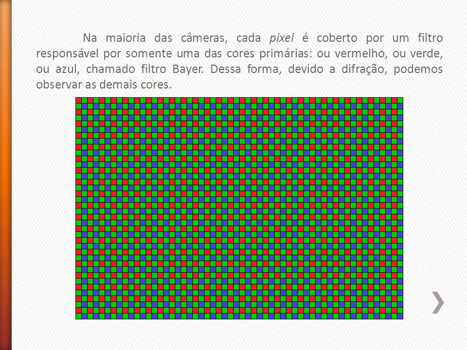 Na maioria das câmeras, cada pixel é coberto por um filtro responsável por somente uma das cores primárias: ou vermelho, ou verde, ou azul, chamado filtro Bayer.