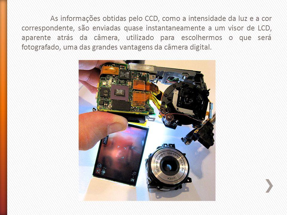 As informações obtidas pelo CCD, como a intensidade da luz e a cor correspondente, são enviadas quase instantaneamente a um visor de LCD, aparente atrás da câmera, utilizado para escolhermos o que será fotografado, uma das grandes vantagens da câmera digital.